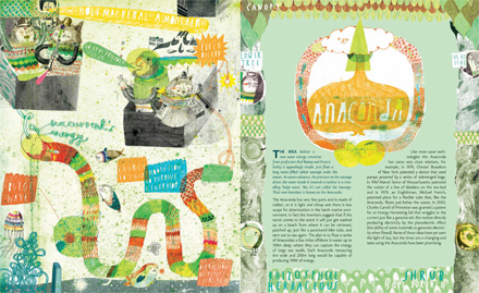 Double page spreads of the Anaconda by Liv Bargman