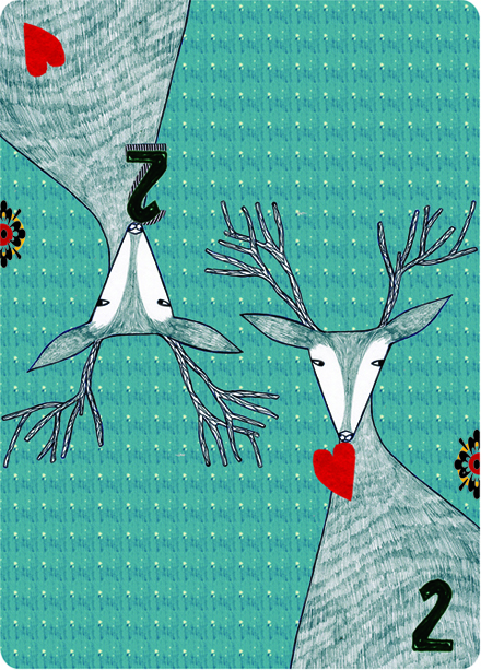 Two of Hearts card for the Shelter Card Quilt by Thereza Rowe
